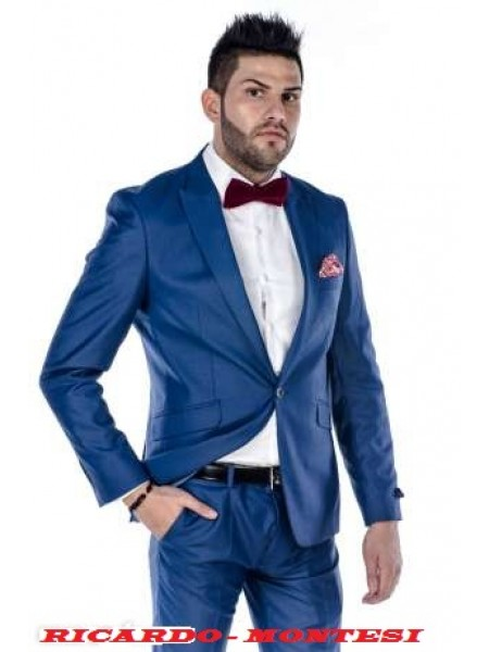 Costum slim fit Albastru Saphire