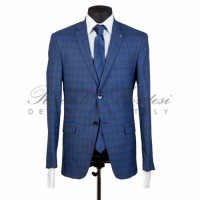 Costum albastru in carouri business slimfit