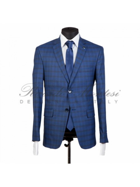 Costum albastru in carouri business slimfit