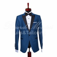 Costum ceremonie blue regal rever negru satinat