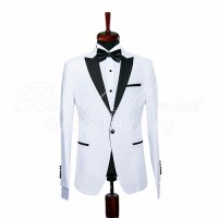 Costum ceremonie white rever negru satinat