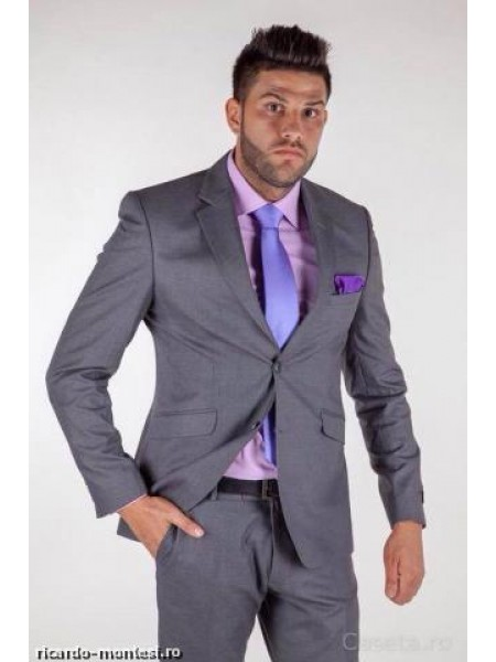 Costum barbatesc gri uni business slimfit
