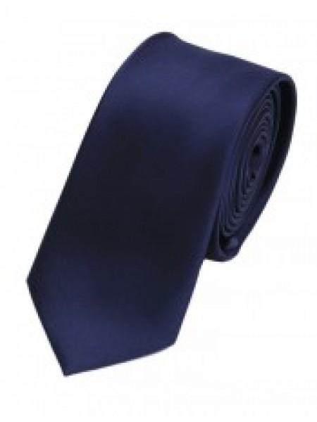 Cravata de matase slim bleumarin uni