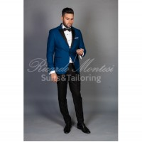 Costum ceremonie  sacou albastru regal pantaloni negri