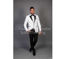 Costum ceremonie sacou alb pantaloni negri