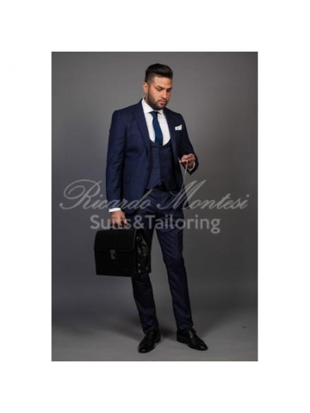 Costum business blue navy carouri,  sacou vesta pantaloni
