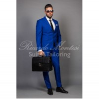 Costum barbati albastru azzure business casual