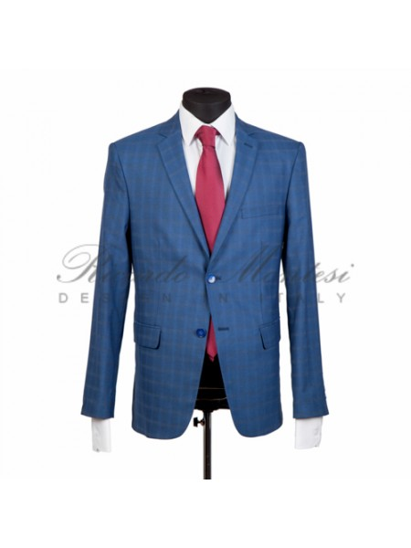 Costum barbatesc in carouri model slimfit azzure