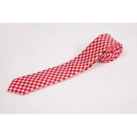 Cravata slim in carouri discrete alb rosu