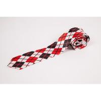 Cravata slim carou  alb rosu negru