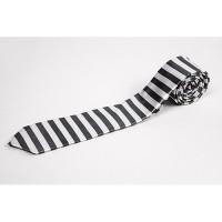 Cravata slim insertii negru alb