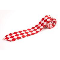 Cravata slim cu romburi alb rosu