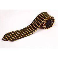 Cravata slim neagra cu puncte orange