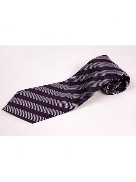Cravata clasica cu insertii alb mov